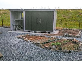 エクステリアリフォーム 収納しやすい物置小屋と、あわせて整備したお庭